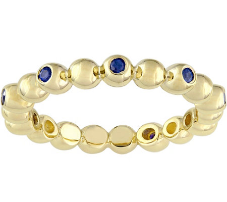 14K 0.20 cttw Sapphire Beaded Scalloped Eternity Ring