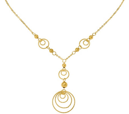 14K Textured Circles & Polished Beads Y Necklace, 2.8g