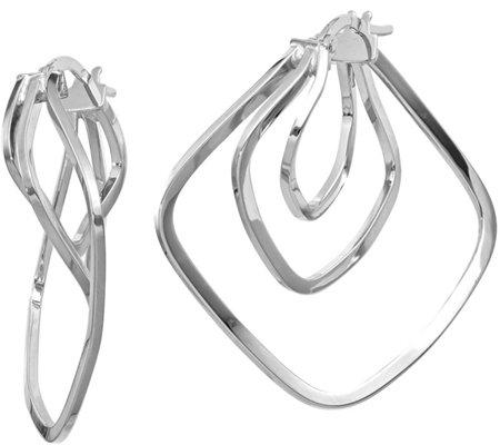 Italian Gold Three Square Twisted Earrings 14k