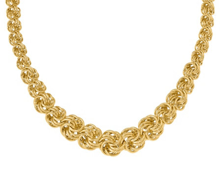 "Italian Gold 16"" Graduated Circle Link Necklace, 14K"