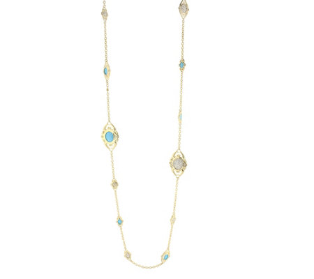 Lauren G Adams Goldtone Simulated Gemstone Station Necklace