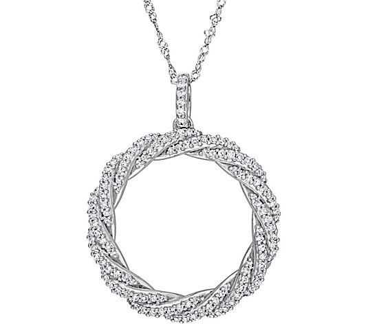 Affinity 14K 1/2 cttw Diamond Twist Circle Pendant w/ Chain