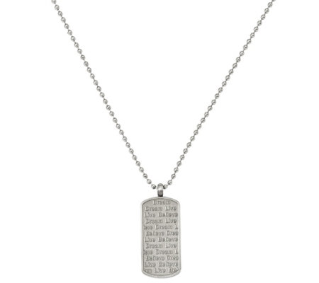 Steel by Design Live, Dream, Believe Pendant with Chain
