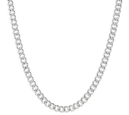"UltraFine Silver 20"" Polished Curb Link Necklace"
