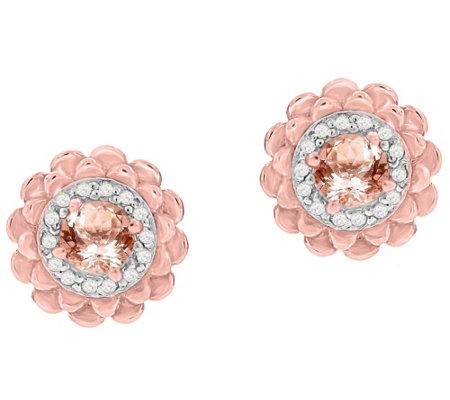 Morganite White Topaz Earrings Sterling