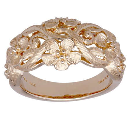 14k Textured Floral Ring