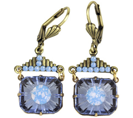 Anne Koplik Swarovski Crystal Blue Art Deco Earrings