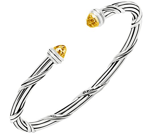 Peter Thomas Roth Sterling Citrine Oval Hinged Cuff