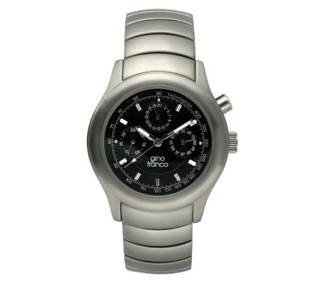 Gino Franco Men's Stainless Steel Wave BraceletWatch