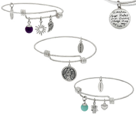 Extraordinary Life Set of 3 Sterling Silver Expandable Charm Bangles