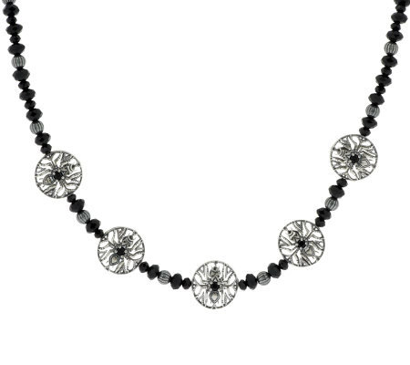 Kenneth Johnson Sterling Signature Bead & Black Spinel Necklace