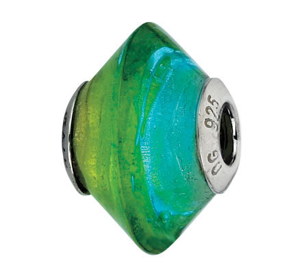 Prerogatives Blue & Green Italian Murano GlassBead