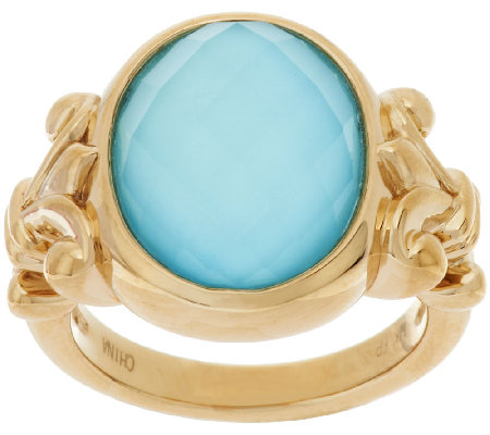 14K Gold Sleeping Beauty Turquoise Doublet Ring
