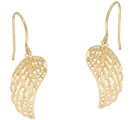 14k Gold Diamond Cut Angel Wing Earrings