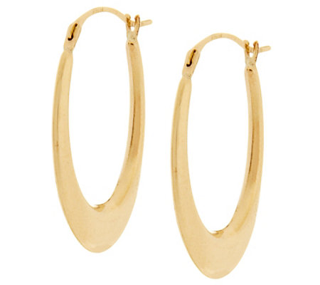 18K Gold Polished Elongated Oval Hoop Earrings