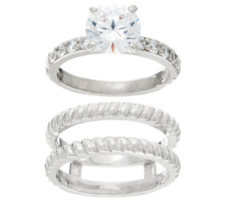Diamonique Twisted Bridal Ring Set, Sterling or 14K Clad