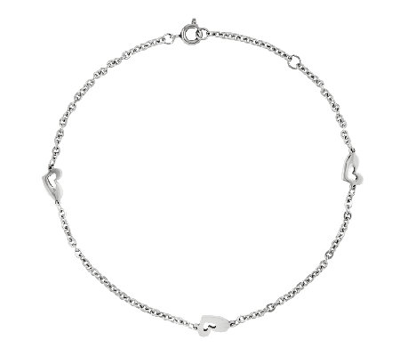 Stainless Steel Polished Heart Station Ankle Bracelet
