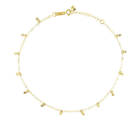"10"" Diamond-Cut Circle Station Ankle Bracelet,14K Gold"