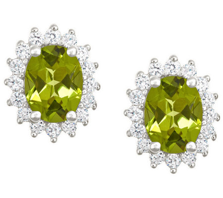 Premier 2 15cttw Oval Peridot Diamond Earrings 14k