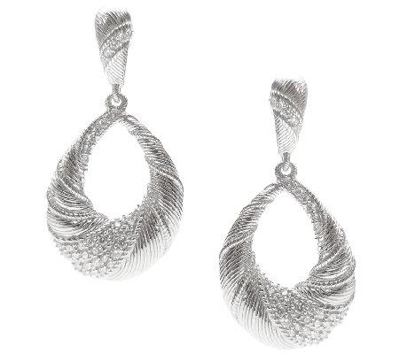 Judith Ripka Sterling & Diamonique Swirl Pear Drop Earrings