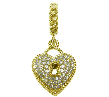 Judith Ripka Sterling 14K Clad 3/8 cttw Diamonique Heart Char