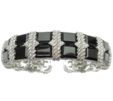 Judith Ripka Sterling Silver Black Onyx & Diamonique Cuff