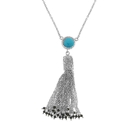 Sterling Turquoise Beaded Tassel Necklace