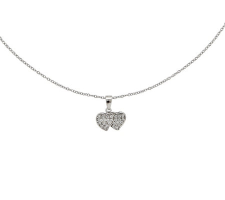 "Sterling Crystal Hearts Pendant with 18"" Chain"