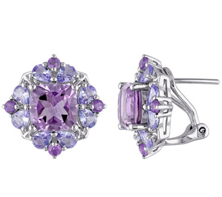 Sterling 5.90 cttw Amethyst and Tanzanite Earrings