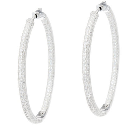 """As Is"" Diamonique 1-3/4"" Pave' Earrings Sterl. or 18K Plated"