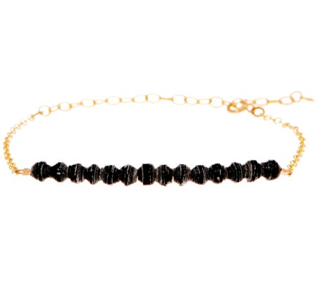 31 Bits Mini Beaded Optimist Goldtone Adj. Bar Bracelet