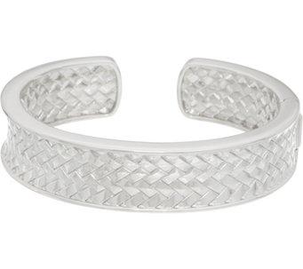 Sterling Silver Basketweave Cuff Bracelet by Silver Style 56.0 g - J349913