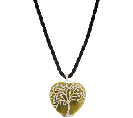 Connemara Marble Sterling Silver Tree of Life Heart Pendant