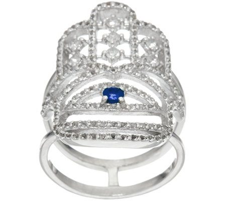 """As Is"" Luv Tia Sterling Sapphire & White Topaz Hamsa Ring"