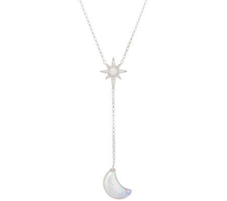 Honora Cultured Pearl Moon and Star Lariat Necklace Sterling Silver