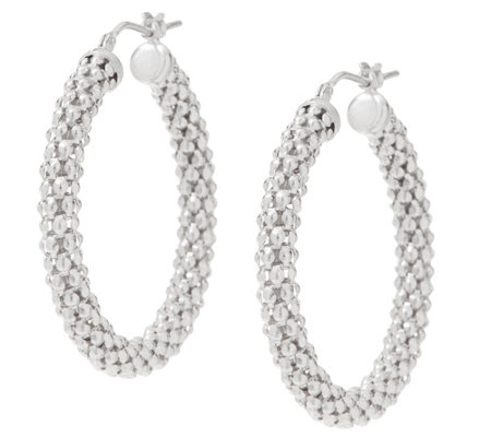 Italian Silver Sterling Popcorn Hoop Earrings