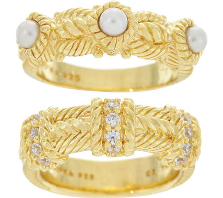 """As Is"" Judith Ripka 14K Clad Set of 2 Estate Style Rings"