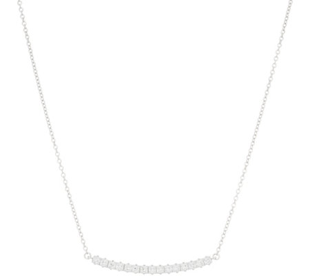 Diamonique Princess Cut Necklace, Sterling Silver or 14K Plated