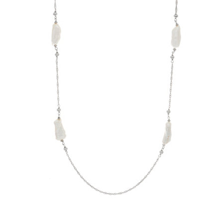 "Honora Liquid Pearl 24"" Necklace Sterling Silver"