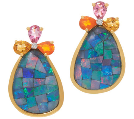 Opal Mosaic and Gemstone Earrings, Sterling Silver