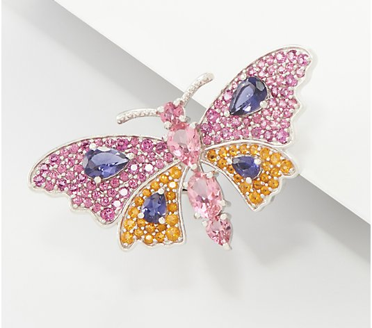 Sterling Silver Choice of Gemstone Butterfly Pins