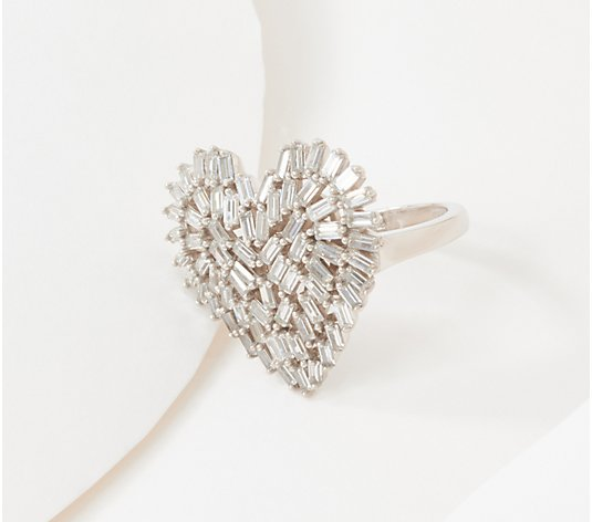 Diamonique Scattered Baguette Heart Ring, Sterling Silver
