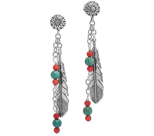 American West Sterling Silver Feather Dangle Earrings