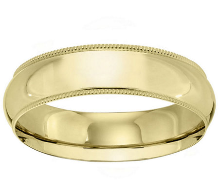 Women S 18k Yellow Gold 6mm Milgrain Wedding Band