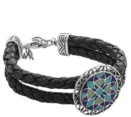 American West Sterling Medallion Leather Bracelet