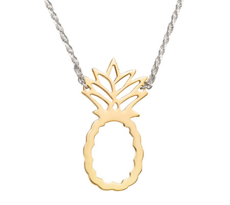 "Sterling 16"" Two-Tone Pineapple Station Necklace"