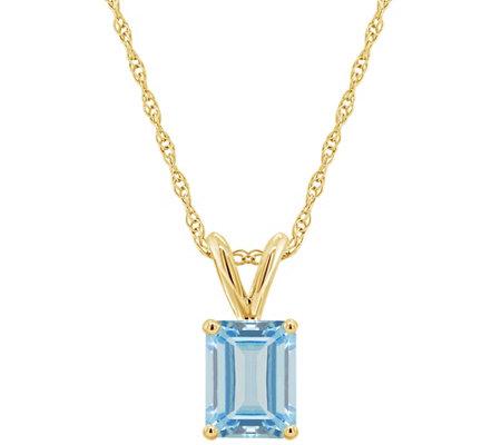 14k Emerald Cut 1 30 Cttw Aquamarine Pendant W Chain