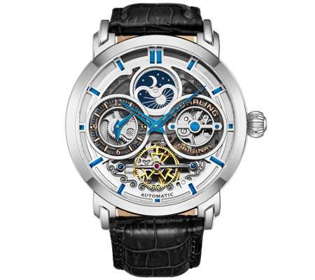 Stuhrling Men's Luciano Skeleton Watch w/ BlackLeather Strap