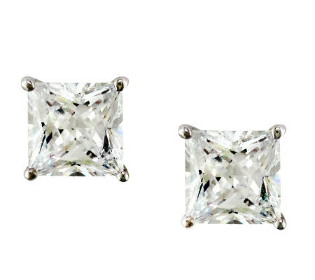 Diamonique 5.00 cttw Princess Cut Stud Earrings , Platinum Cla