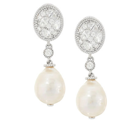 Judith Ripka Sterling Diamonique And Pearl Drop Earrings